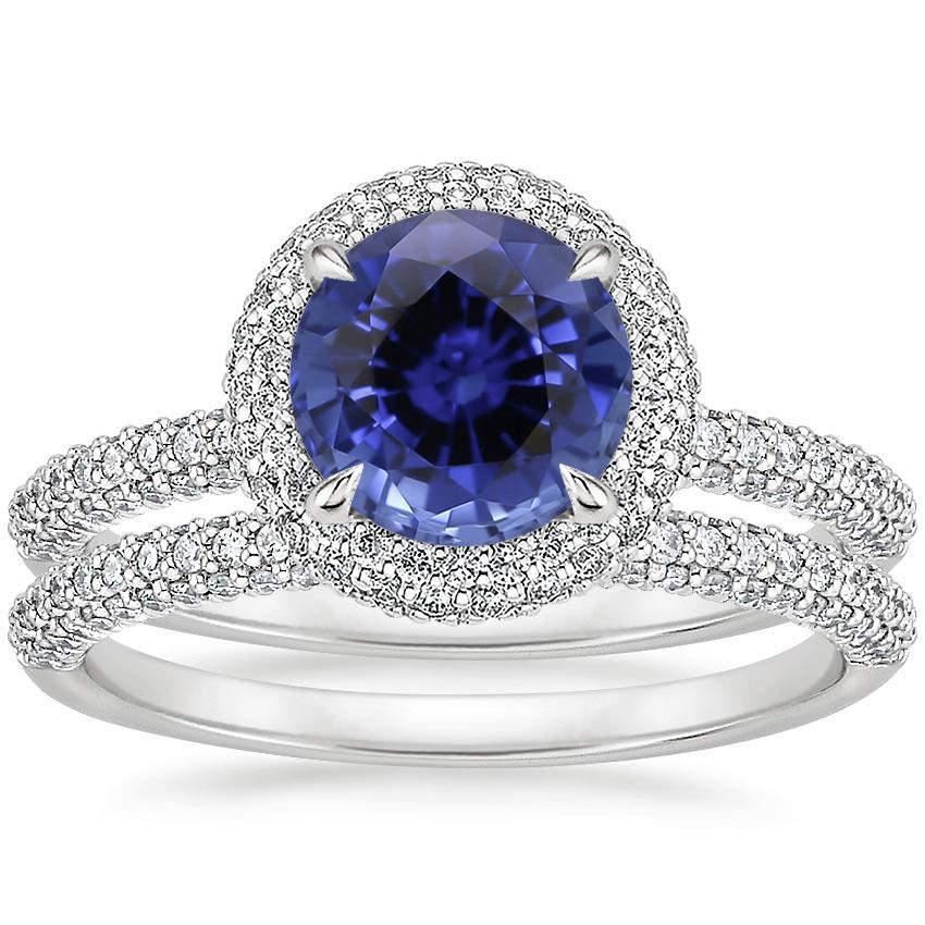 18KW Sapphire Valencia Halo Diamond Bridal Set, top view