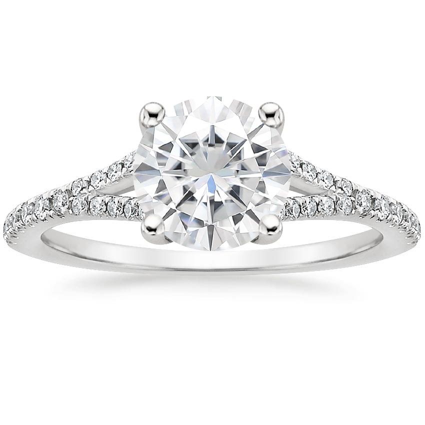 Moissanite Flair Diamond Ring in 18K White Gold