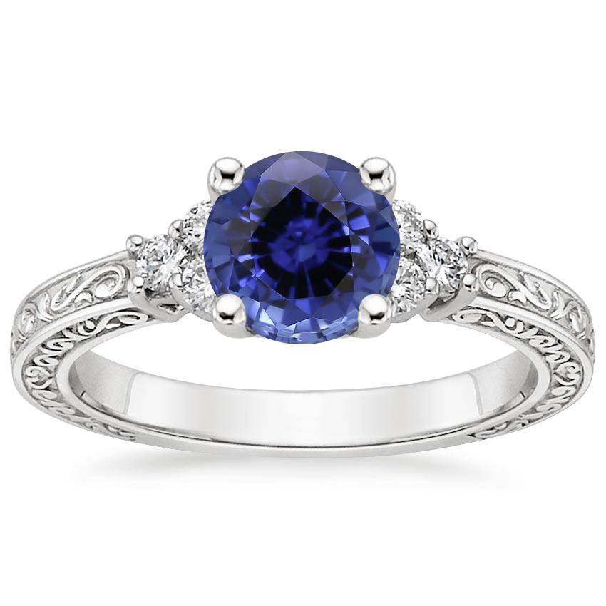 Sapphire Adorned Trio Diamond Ring in 18K White Gold