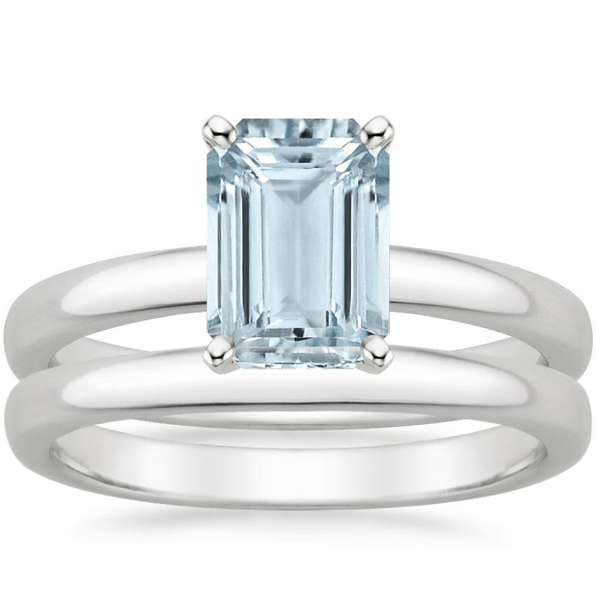 18KW Aquamarine 2.5mm Comfort Fit Bridal Set, top view