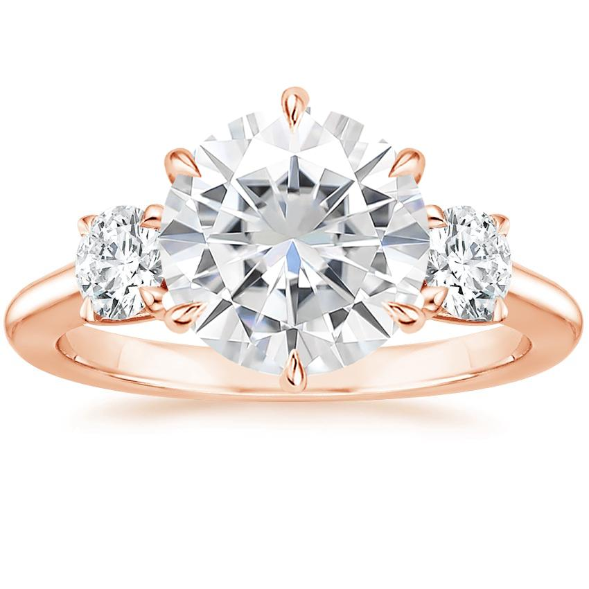 Rose Gold Moissanite Three Stone Catalina Diamond Ring (1/2 ct. tw.)