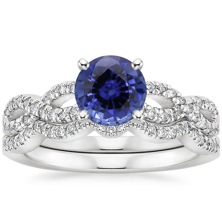 18KW Sapphire Infinity Diamond Bridal Set (1/3 ct. tw.), top view