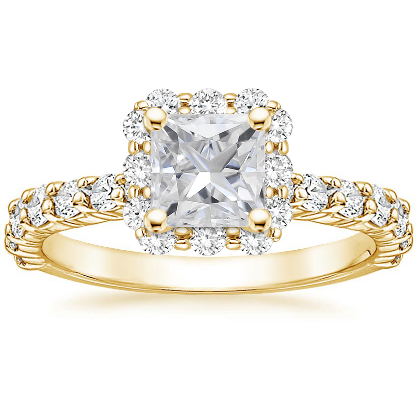 Yellow Gold Moissanite Lotus Flower Diamond Ring with Side Stones (3/4 ct. tw.)