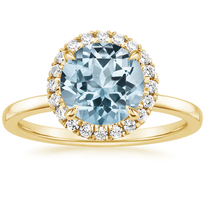 Yellow Gold Aquamarine Vienna Diamond Ring