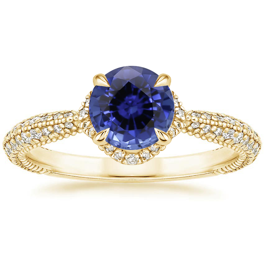 Yellow Gold Sapphire Aster Diamond Ring (1/3 ct. tw.)