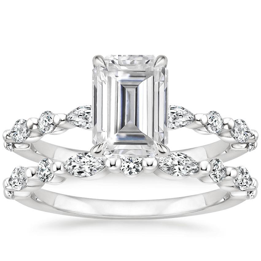 18KW Moissanite Versailles Diamond Bridal Set, top view