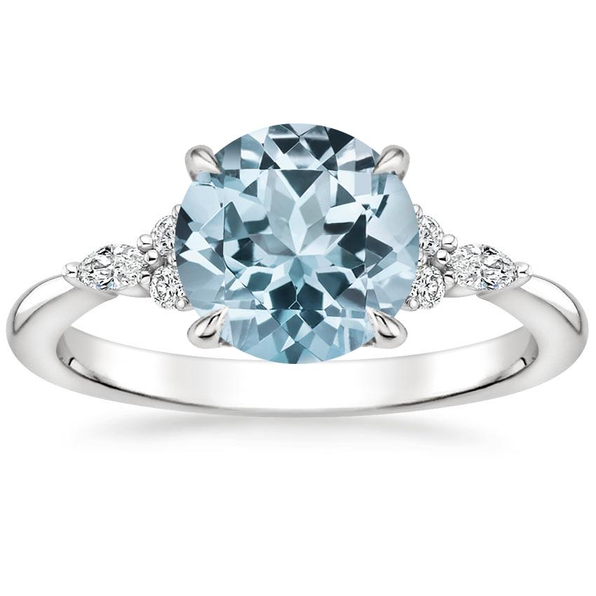 Aquamarine Nadia Diamond Ring in 18K White Gold