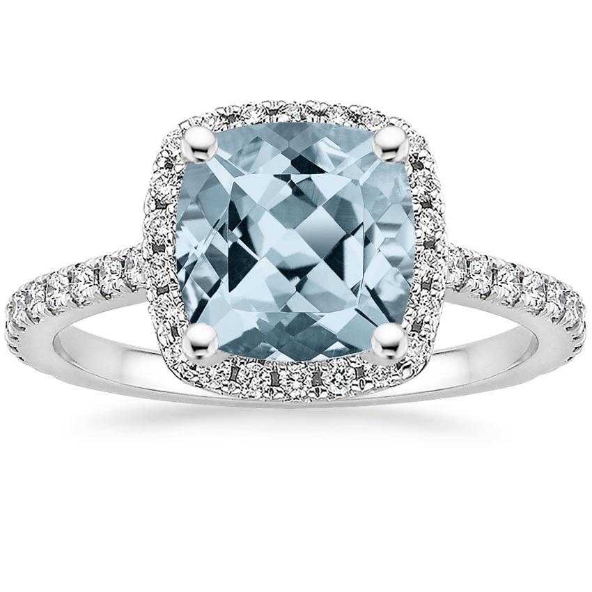 Gemstone Engagement Rings Chicago: Aquamarine Luxe Odessa Diamond Ring (1/3 Ct. Tw.) In 18K