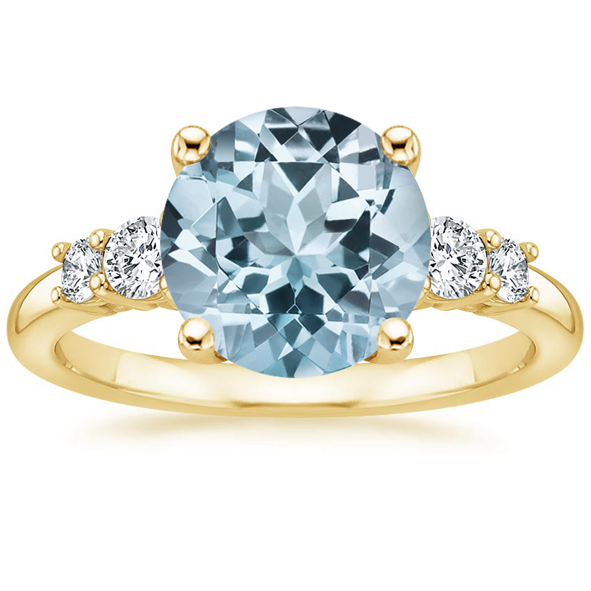 Yellow Gold Aquamarine Rialto Diamond Ring (1/4 ct. tw.)