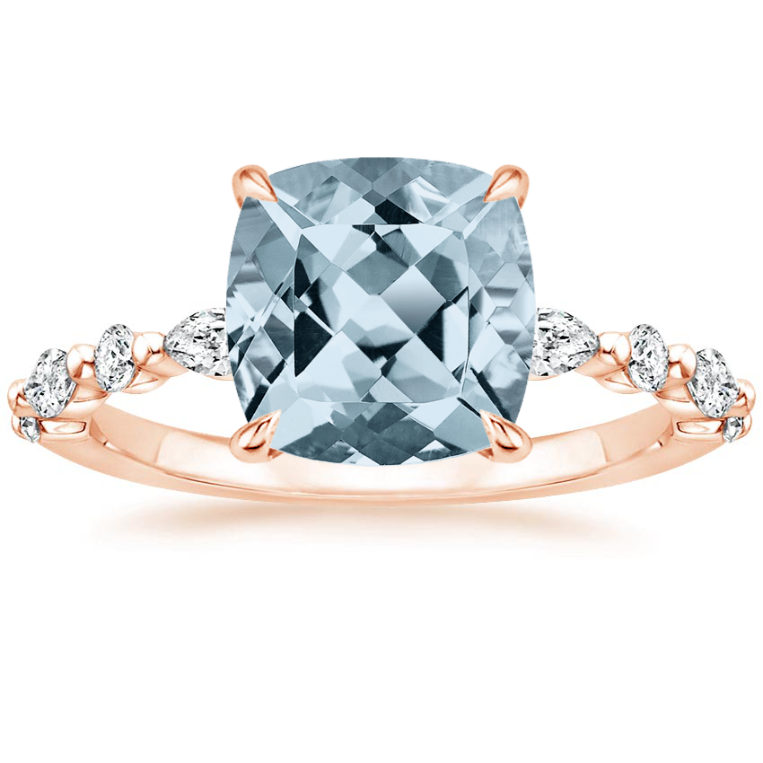 Rose Gold Aquamarine Versailles Diamond Ring (1/3 ct. tw.)