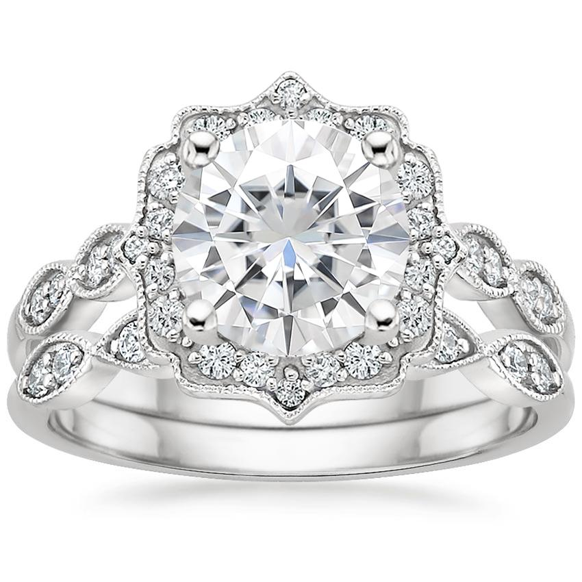 18KW Moissanite Cadenza Halo Diamond Bridal Set (1/4 ct. tw.), top view