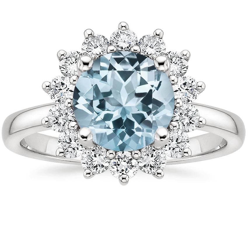Aquamarine Sunburst Diamond Ring (1/4 ct. tw.) in 18K White Gold