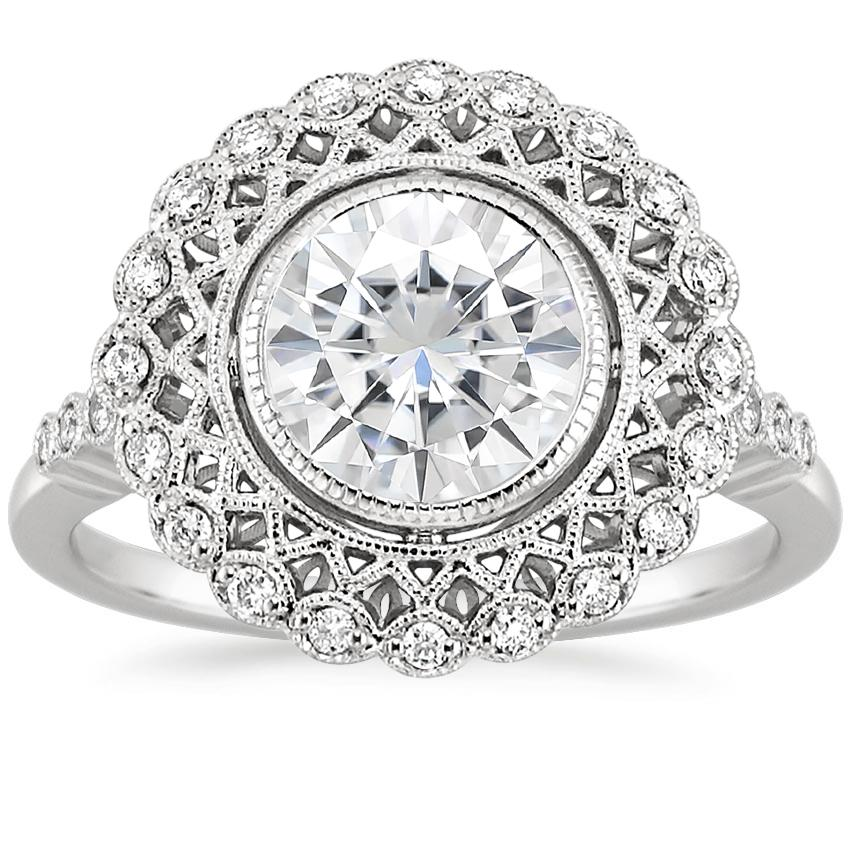 Moissanite Alvadora Diamond Ring in 18K White Gold