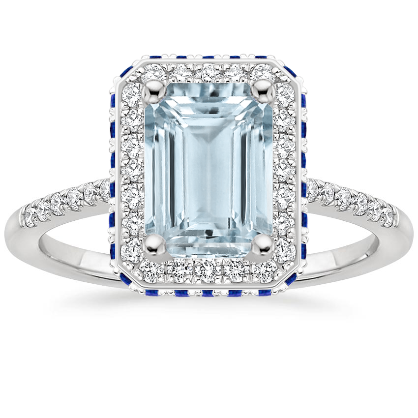 Aquamarine Circa Diamond Ring with Sapphire Accents (1/4 ct. tw.) in 18K White Gold