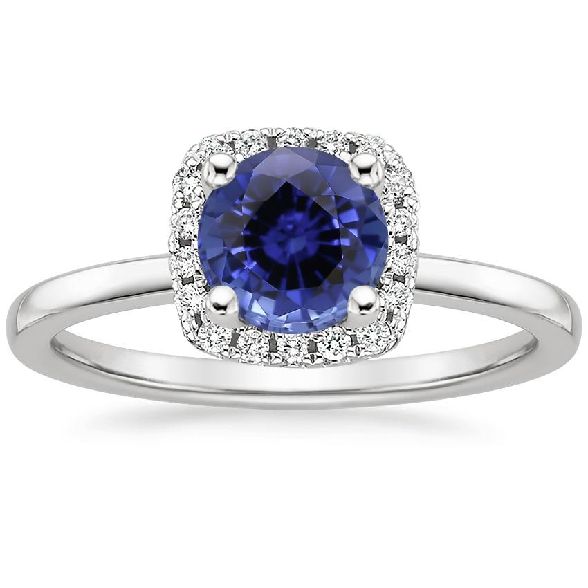 Sapphire French Halo Diamond Ring in 18K White Gold