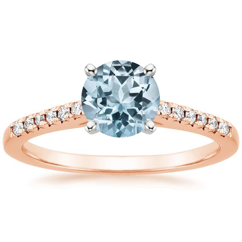 Rose Gold Aquamarine Sonora Diamond Ring
