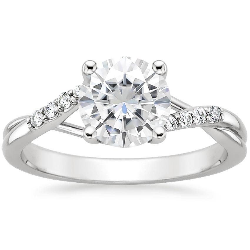 Moissanite Chamise Diamond Ring in 18K White Gold