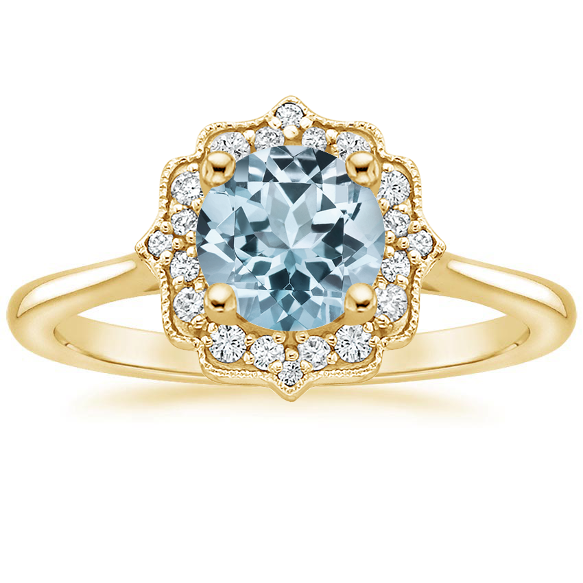 Yellow Gold Aquamarine Coralie Diamond Ring