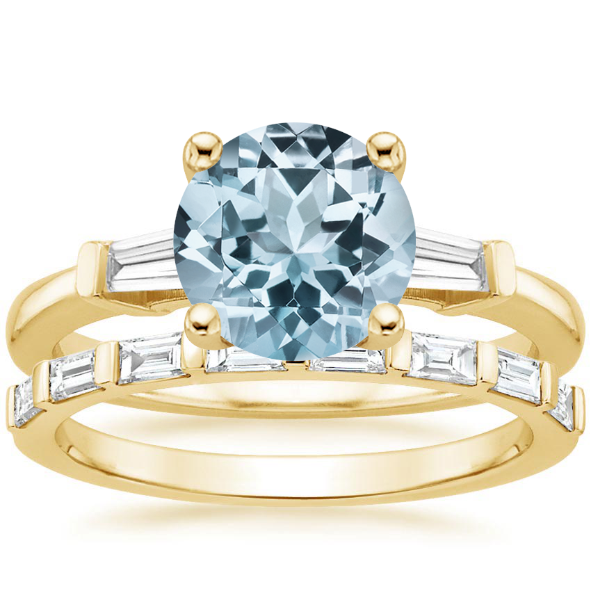 18KY Aquamarine Tapered Baguette Diamond Ring (1/5 ct. tw.) with Barre Diamond Ring (1/4 ct. tw.), top view