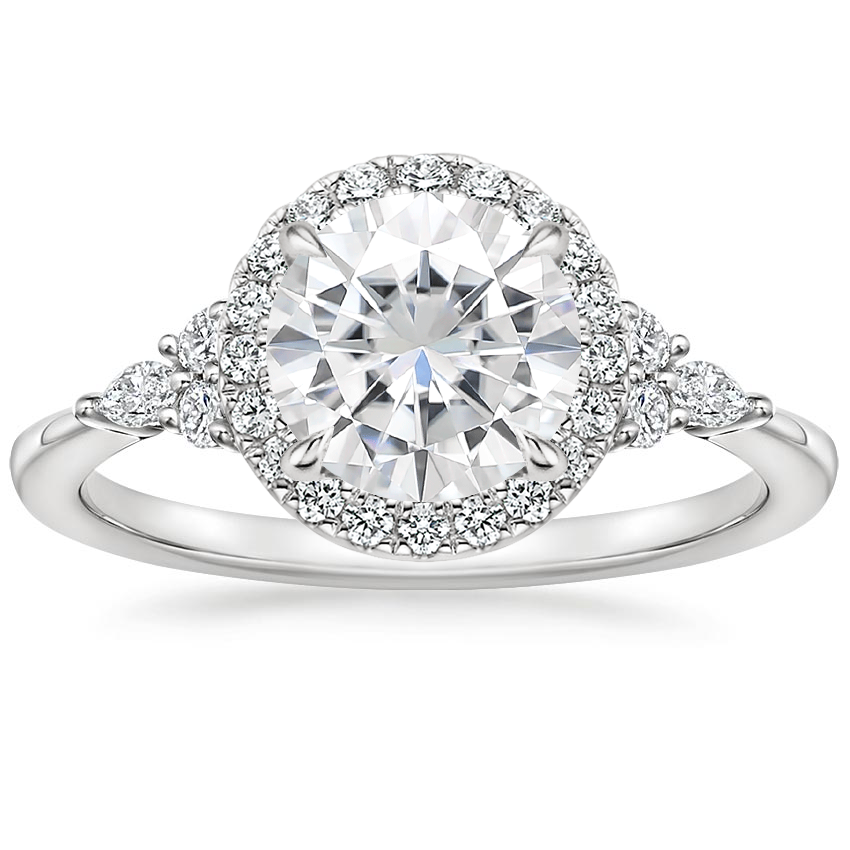 Moissanite Nadia Halo Diamond Ring (1/4 ct. tw.) in 18K White Gold