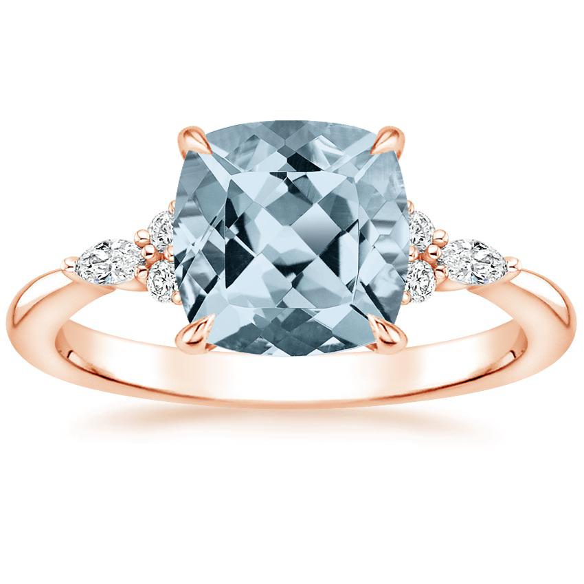 Rose Gold Aquamarine Nadia Diamond Ring