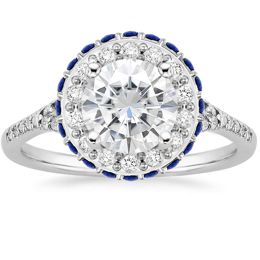 Moissanite Circa Diamond Ring with Sapphire Accents (1/3 ct. tw.) in 18K White Gold