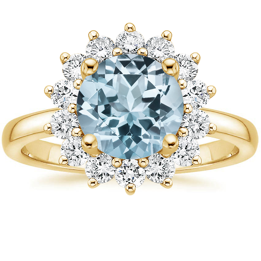 Yellow Gold Aquamarine Sunburst Diamond Ring (1/4 ct. tw.)