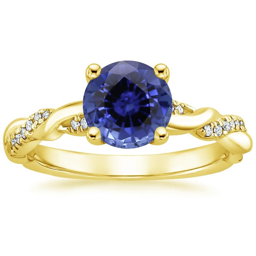 Yellow Gold Sapphire Tressa Diamond Ring