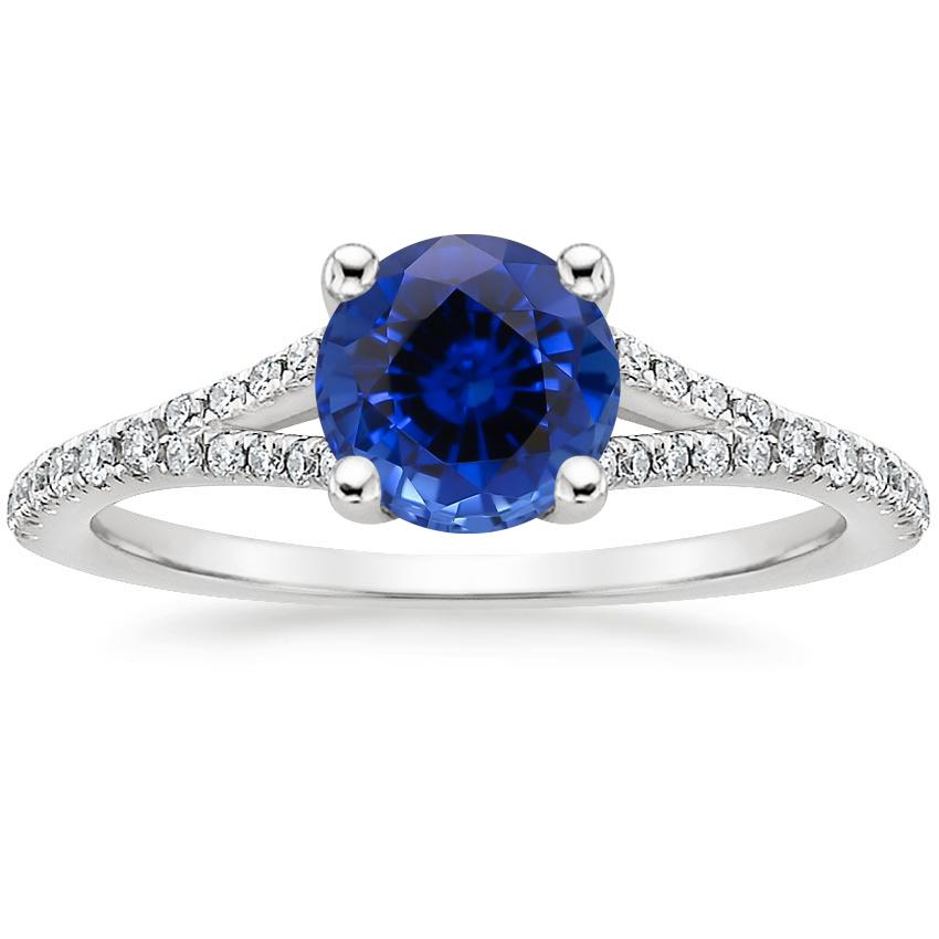 Sapphire Flair Diamond Ring in 18K White Gold