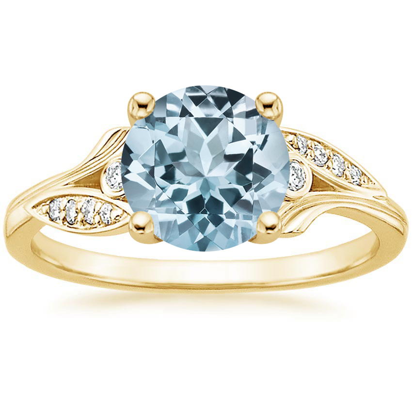 Yellow Gold Aquamarine Jasmine Diamond Ring