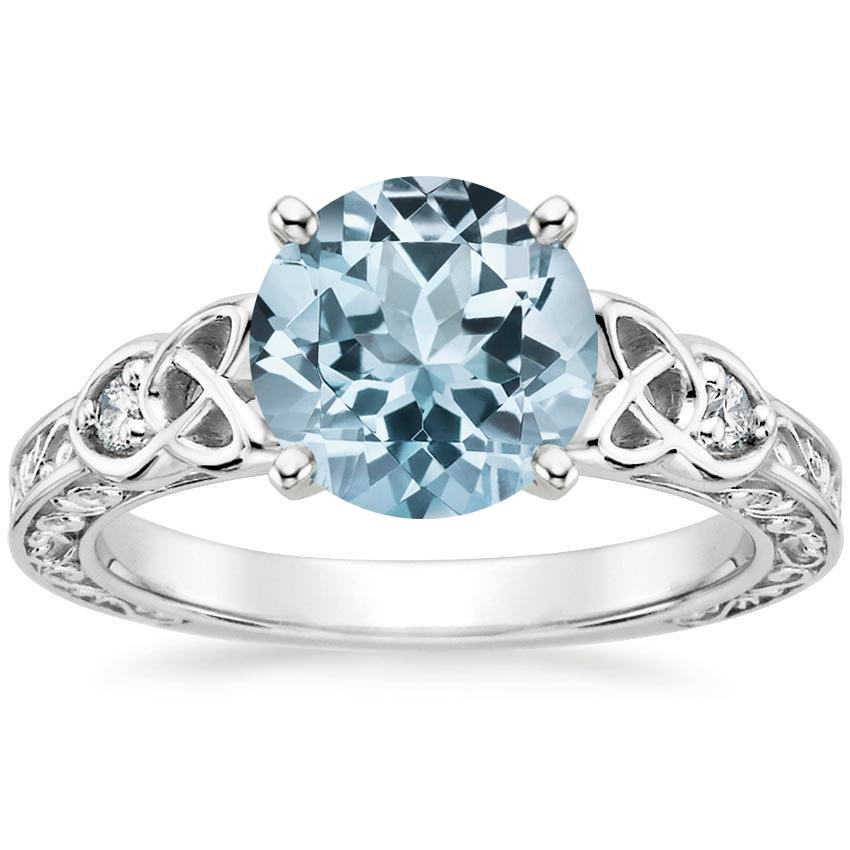 18k white gold aquamarine aberdeen diamond ring - Aquamarine Wedding Rings