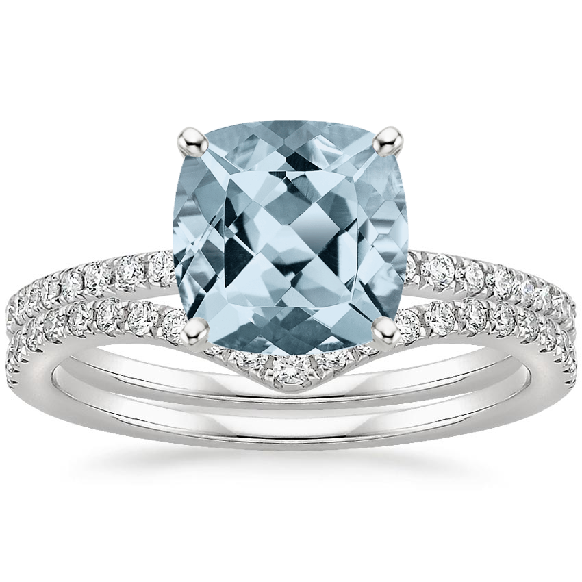 18KW Aquamarine Ballad Diamond Ring (1/8 ct. tw.) with Flair Diamond Ring (1/6 ct. tw.), top view