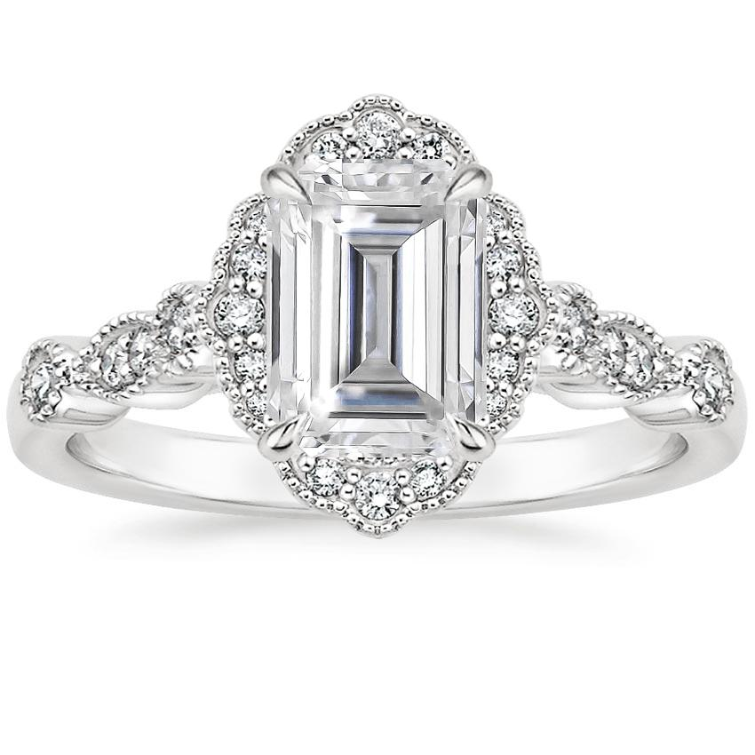 Moissanite Tiara Halo Diamond Ring in 18K White Gold
