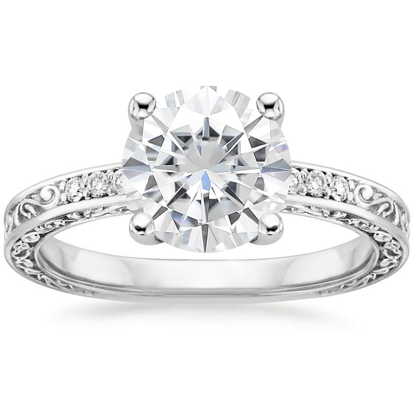 Moissanite Delicate Antique Scroll Diamond Ring in 18K White Gold