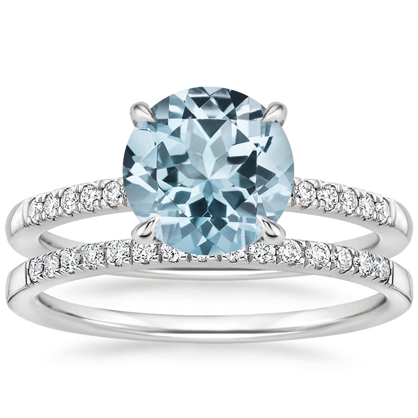 18KW Aquamarine Petite Viviana Diamond Bridal Set (1/4 ct. tw.), top view