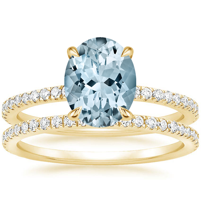 18KY Aquamarine Viviana Diamond Bridal Set (1/2 ct. tw.), top view