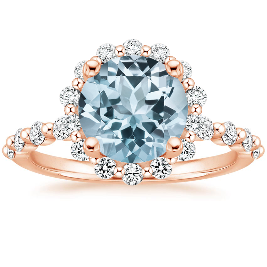 Rose Gold Aquamarine Marseille Halo Diamond Ring (1/2 ct. tw.)