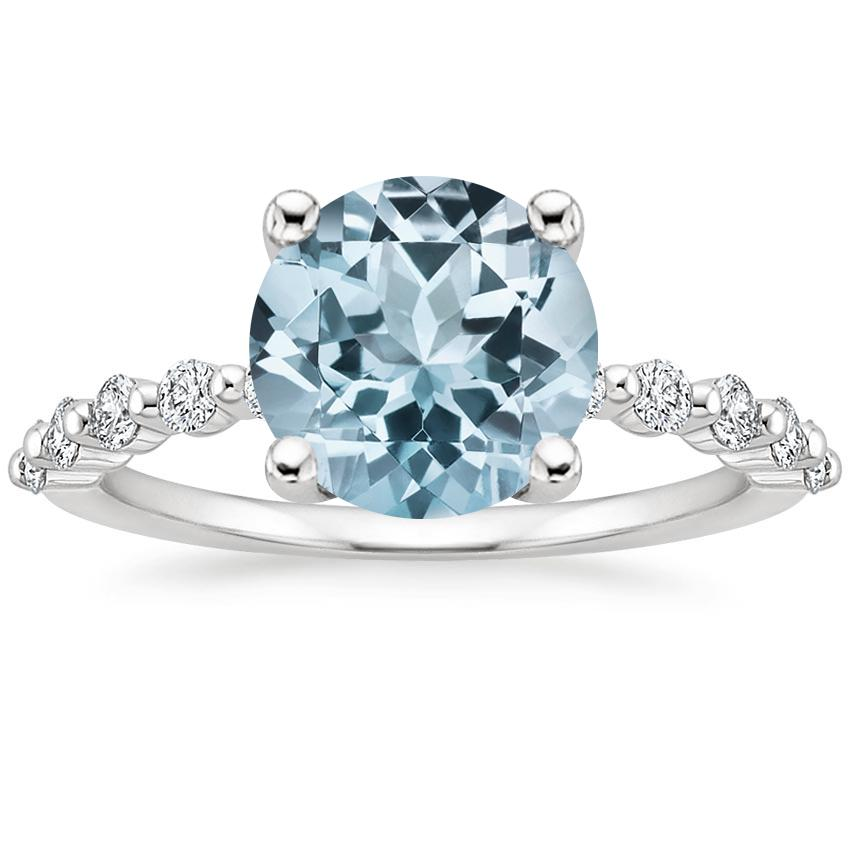 Aquamarine Marseille Diamond Ring (1/4 ct. tw.) in 18K White Gold