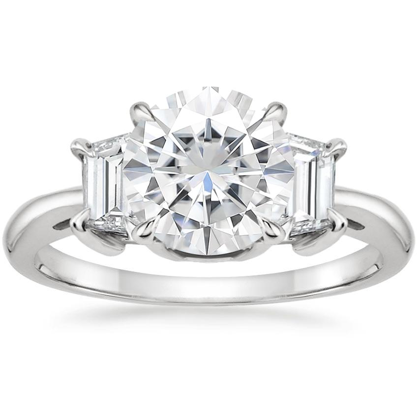 Moissanite Embrace Diamond Ring in Platinum