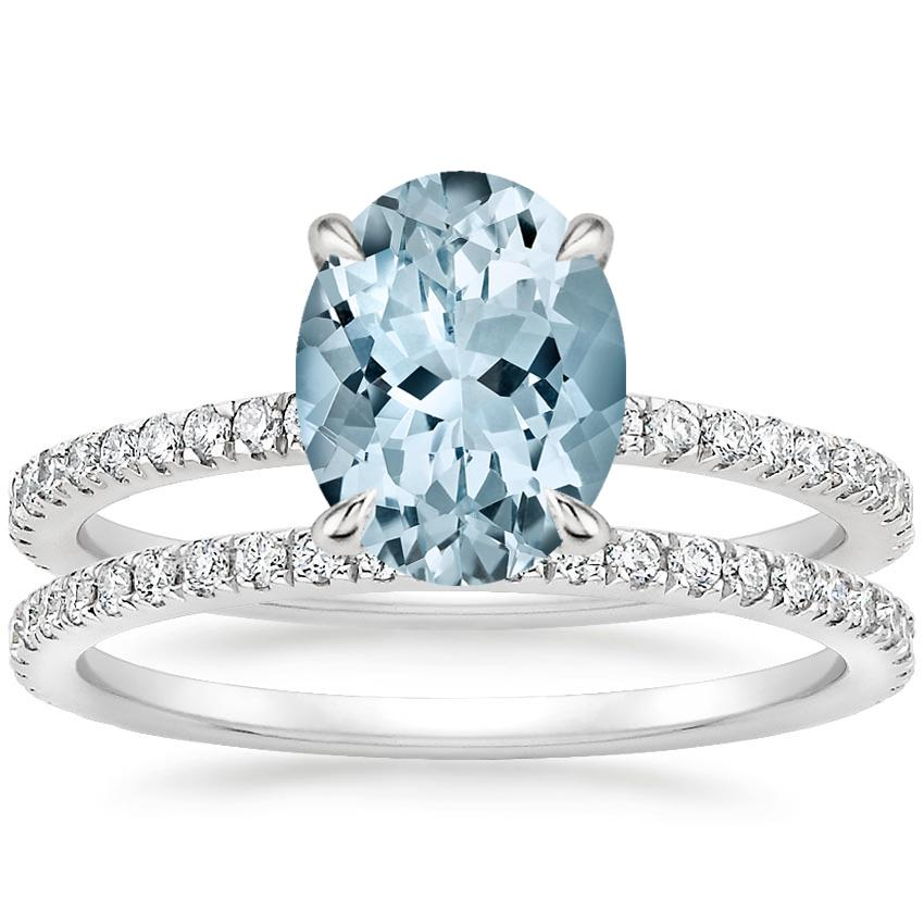 18KW Aquamarine Viviana Diamond Bridal Set (1/2 ct. tw.), top view