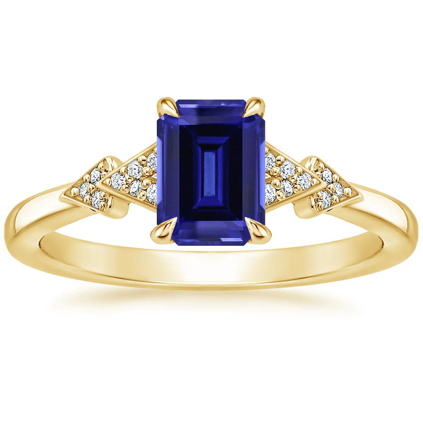Yellow Gold Sapphire Alta Diamond Ring