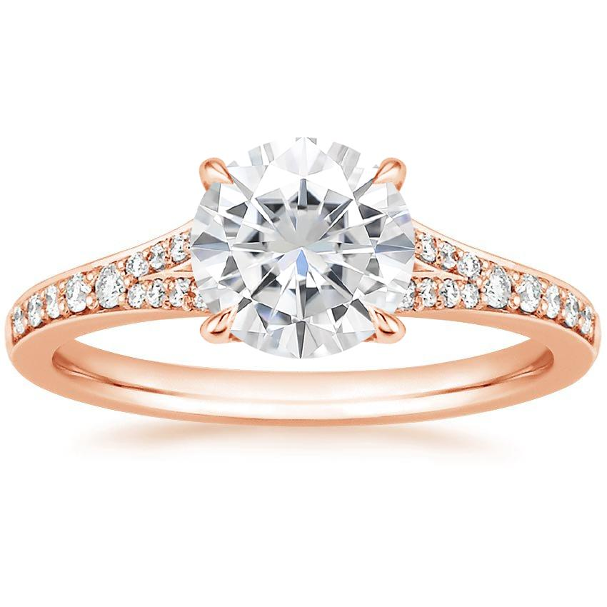 Rose Gold Moissanite Duet Diamond Ring