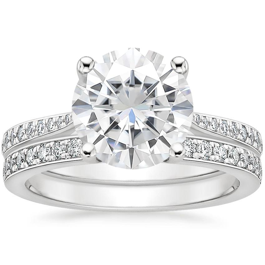 18KW Moissanite Geneva Diamond Bridal Set (1/4 ct. tw.), top view