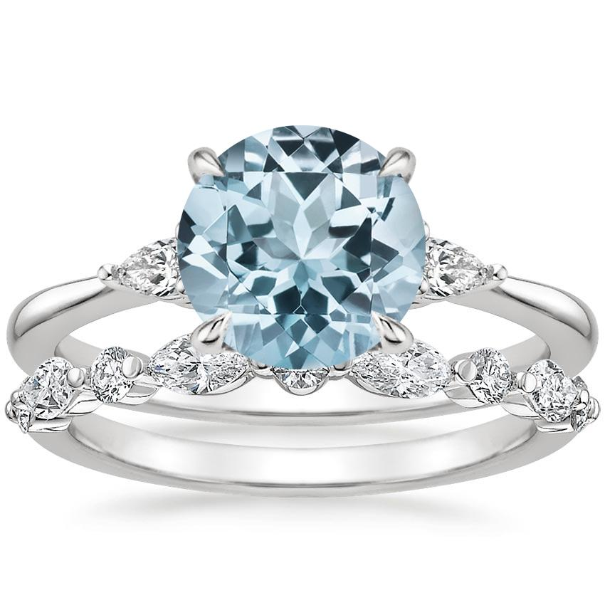 18KW Aquamarine Aria Diamond Ring (1/10 ct. tw.) with Versailles Diamond Ring (3/8 ct. tw.), top view