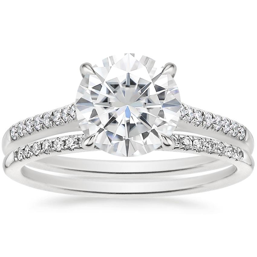 18KW Moissanite Lissome Diamond Ring (1/10 ct. tw.) with Whisper Diamond Ring, top view