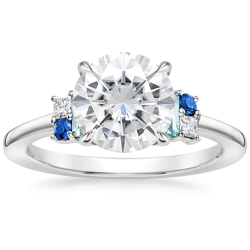Moissanite Mazarine Ring in 18K White Gold
