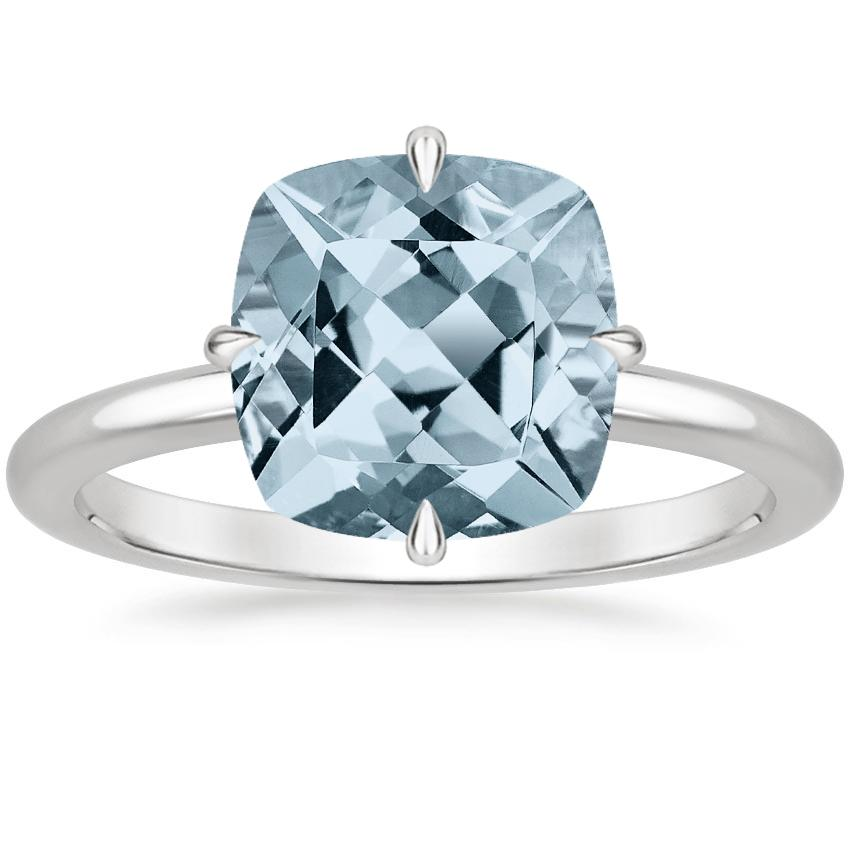 Aquamarine North Star Ring in Platinum