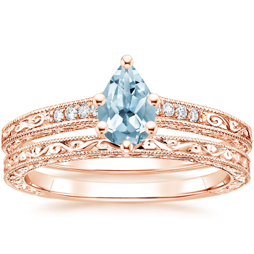 14KR Aquamarine Luxe Hudson Diamond Bridal Set, top view