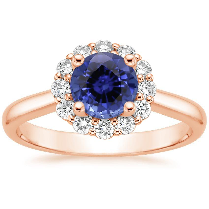 Rose Gold Sapphire Lotus Flower Diamond Ring (1/4 ct. tw.)