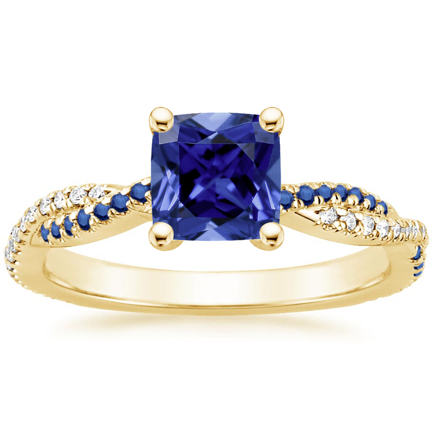 Yellow Gold Sapphire Petite Luxe Twisted Vine Sapphire and Diamond Ring (1/8 ct. tw.)